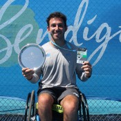 Adam Kellerman celebrates his victory at the 2015 Australian Wheelchair Tennis National Championships final in Bendigo; Tennis Australia