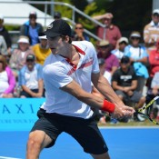 Ben Mitchell in action at the Canberra Tennis International; Tennis ACT