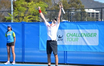 Ben Mitchell celebrates his victory at the Canberra Tennis International ATP Challenger event; Tennis ACT