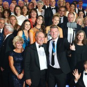 Sam Groth (centre, front) and John Newcombe pose with tennis players past and present for the traditional Newcombe Medal, Australian Tennis Awards group photo; Getty Images