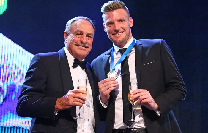 Newcombe Medal winner Sam Groth (R) and John Newcombe; Getty Images