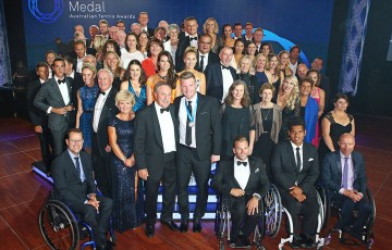 Tennis players past and present pose for the traditional Newcombe Medal, Australian Tennis Awards group photo; Getty Images