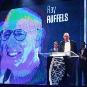Ray Ruffels accepts the President's Spirit of Tennis Award; Getty Images