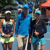 Tammi Patterson (R) ahead of her quarterfinal victory over Eri Hozumi; Tennis Australia