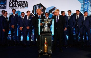 John Peers (second left from the trophy) at the ATP World Tour Finals draw ceremony in London; Getty Images