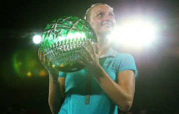 Petra Kvitova poses with the trophy after winning with the women's singles title at Apia International Sydney 2015; Getty Images