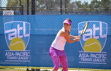 Zuzana Zlochova in action during the Asia-Pacific Tennis League