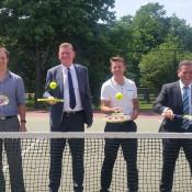 (L-R) Princes Hill Tennis Club President Peter Mattessi, Tennis Victoria CEO Matthew Kennedy, tennis legend Todd Woodbridge, Hon. Minister for Sport Mr John Eren; Tennis Victoria