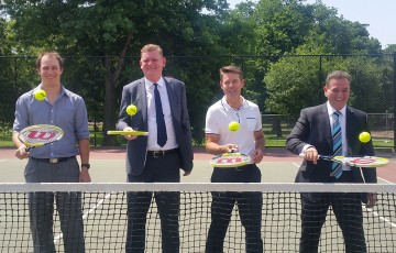 (L-R) Princes Hill Tennis Club President Peter Mattessi, Tennis Victoria CEO Matthew Kennedy, tennis legend Todd Woodbridge, Hon. Minister for Sport Mr John Eren; Tennis Victoria