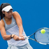 Priscilla Hon in action during her victory over Olivia Tjandramulia in the semifinals of the 18/u Australian Championships at Melbourne Park; Elizabeth Xue Bai