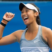 Priscilla Hon celebrates her victory over Maddison Inglis in the final of the 18/u Australian Championships; Elizabeth Xue Bai