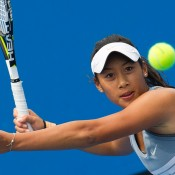 Priscilla Hon in action during her victory over Maddison Inglis in the finals of the 18/u Australian Championships at Melbourne Park; Elizabeth Xue Bai