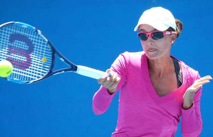 Arina Rodionova in action at the Australian Open 2016 Play-off at Melbourne Park; Getty Images