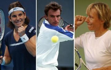 (L-R) Arantxa Sanchez Vicario, Mats Wilander and Martina Navratilova
