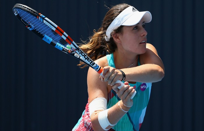HOBART, AUSTRALIA - JANUARY 11:  Kimberly Birrell of Australia plays a backhand in the women's single's match against Danka Kovinic of Montenegro during day two of the 2016 Hobart International at the Domain Tennis Centre on January 11, 2016 in Hobart, Australia.  (Photo by Robert Cianflone/Getty Images)