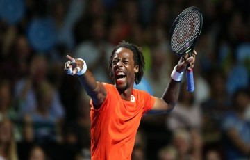 SYDNEY, AUSTRALIA - JANUARY 11:  Gael Monfils of France gestures during the FAST4 Tennis exhibition match between Gael Monfils and Nick Kyrgios at Allphones Arena on January 11, 2016 in Sydney, Australia.  (Photo by Brendon Thorne/Getty Images)