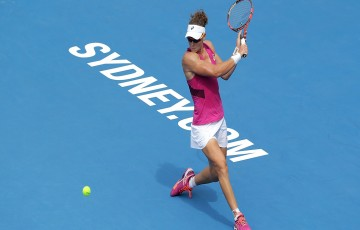 SYDNEY, AUSTRALIA - JANUARY 12:  Sam Stosur of Australia plays a backhand in her match against Daniela Hantuchova of Slovakia during day three of the 2016 Sydney International at Sydney Olympic Park Tennis Centre on January 12, 2016 in Sydney, Australia.  (Photo by Mark Metcalfe/Getty Images)