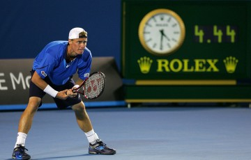 Lleyton Hewitt in action in his epic five-set third-round match against Marcos Baghdatis at Australian Open 2008, which Hewitt eventually won at 4.34am; Getty Images