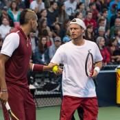 Nick Kyrgios (L) and Lleyton Hewitt talk tactics at the ATP Montreal Masters; Getty Images