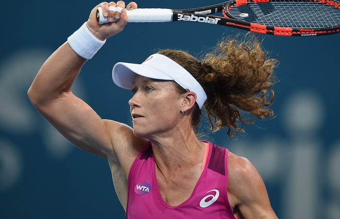 Sam Stosur in action during her first-round victory over Jana Cepelova at the Brisbane International; Getty Images
