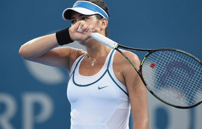 Alja Tomljanovic in action during her first-round loss at the Brisbane International to Carla Suarez Navarro; Getty Images