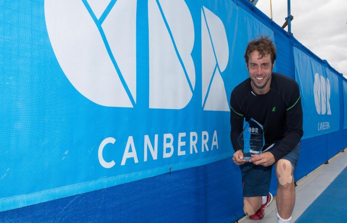 Paolo Lorenzi [1] after the Men's Singles Final of the Canberra $75K ATP Challenger held at the Canberra Tennis Centre on Saturday 16 January 2016. Paolo Lorenzi [1] defeated Ivan Dodig [5] 6-2 6-4. Photo by Ben Southall. #CBRATPChallenger