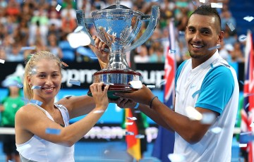 Daria Gavrilova and Nick Kyrgios win the Hopman Cup in 2016; Getty Images