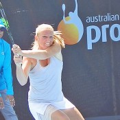 Alla Kudryavtseva in action during her semifinal win over Vania King at the Launceston International Pro Tour event; Tennis Australia