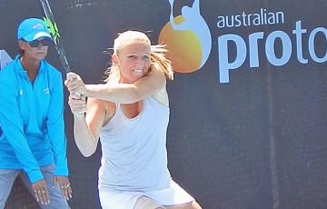 Alla Kudryavtseva in action during her semifinal win over Vania King at the Launceston International Pro Tour event; Tennis Australia