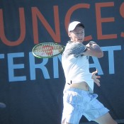 Blake Mott in action during his semifinal victory at the Launceston International Pro Tour event; Tennis Australia