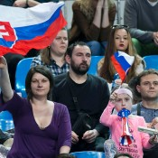 Slovak fans watch on during the Australia v Slovakia World Group II first round tie in Bratislava; Roman Benicky