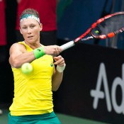 Sam Stosur in action against Jana Cepelova in the second singles rubber of the Australia v Slovakia World Group II first round tie in Bratislava; Roman Benicky