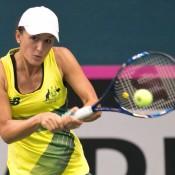 Arina Rodionova in action against Anna Karolina Schmiedlova in the first singles rubber of the Australia v Slovakia World Group II first round tie in Bratislava; Roman Benicky