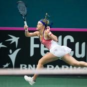 Anna Karolina Schmiedlova in action against Arina Rodionova in the first singles rubber of the Australia v Slovakia World Group II first round tie in Bratislava; Roman Benicky