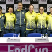 The Australian Fed Cup team of (L-R) Arina Rodionova, Casey Dellacqua, captain Alicia Molik, Sam Stosur, Kimberly Birrell and Storm Sanders at the Australia v Slovakia Fed Cup pre-tie press conference in Bratislava; Roman Benicky
