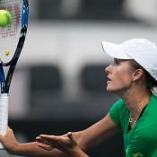 Arina Rodionova practises ahead of the Australia v Slovakia Fed Cup World Group II tie in Bratislava; Roman Benicky