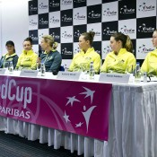The Australian Fed Cup team of (L-R) Arina Rodionova, Casey Dellacqua, captain Alicia Molik, Sam Stosur, Kimberly Birrell and Storm Sanders face the press ahead of their World Group tie against Slovakia in Bratislava; Roman Benicky