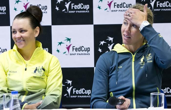Casey Dellacqua (L) and Alicia Molik at the Australia v Slovakia Fed Cup pre-tie press conference; Roman Benicky