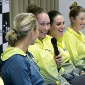 (L-R) Alicia Molik, Sam Stosur, Kimberly Birrell and Storm Sanders at the Australia v Slovakia Fed Cup pre-tie press conference; Roman Benicky