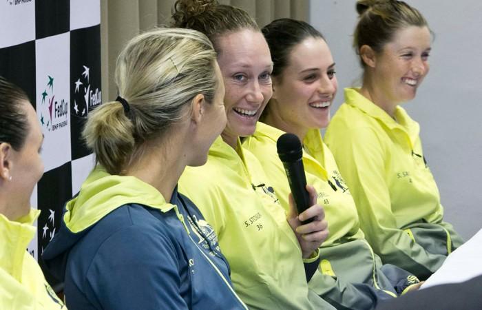 (L-R) Alicia Molik, Sam Stosur, Kimberly Birrell and Storm Sanders at the Australia v Slovakia Fed Cup pre-tie press conference; Roman Benicky
