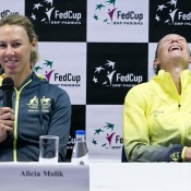 Alicia Molik (L) and Sam Stosur at the Australia v Slovakia Fed Cup pre-tie press conference; Roman Benicky