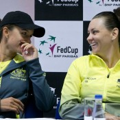 Arina Rodionova (L) and Casey Dellacqua at the Australia v Slovakia Fed Cup pre-tie press conference; Roman Benicky