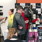 Sam Stosur (L) and captain Alicia Molik (R) speak to the media at the Australia v Slovakia Fed Cup pre-tie press opportunity in Bratislava; Roman Benicky