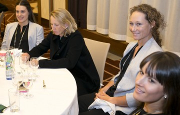 (L-R) Kimberly Birrell, coach Nicole Pratt, Sam Stosur and Arina Rodionova at the Australia v Slovakia Fed Cup teams dinner; Tennis Australia
