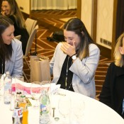 (L-R) Casey Dellacqua, Kimberly Birrell and coach Nicole Pratt at the Fed Cup team dinner in Bratislava; Tennis Australia