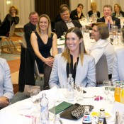 (L-R) captain Alicia Molik, Storm Sanders and Casey Dellacqua at the Fed Cup team dinner in Bratislava; Tennis Australia