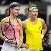Sam Stosur (R) and Anna Karolina Schmiedlova pose for a photo before their reverse singles rubber at the Australia v Slovakia Fed Cup tie in Bratislava; Roman Benicky