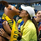 Arina Rodionova (L) and Kimberly Birrell celebrate Australia's victory in the Australia v Slovakia Fed Cup tie in Bratislava; Roman Benicky