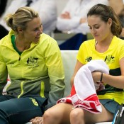 Alicia Molik (L) consults with Kimberly Birrell during the second reverse singles rubber in the Australia v Slovakia Fed Cup tie in Bratislava; Roman Benicky