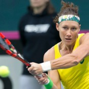 Sam Stosur in action during the reverse singles rubber against Anna Karolina Schmiedlova in the Australia v Slovakia Fed Cup tie in Bratislava; Roman Benicky